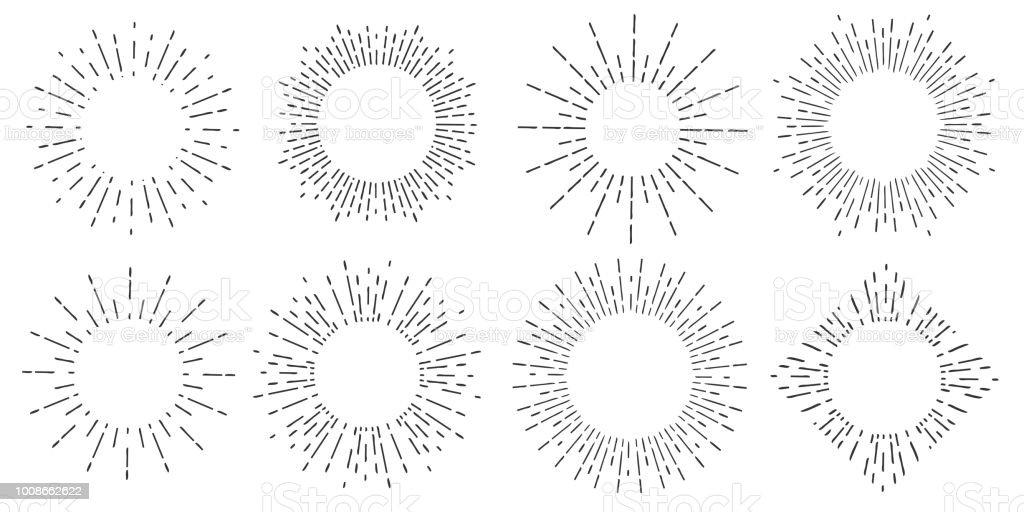 Illustration de vecteur créatif de rayons de soleil géométriques dessinés à la main, isolé sur fond. Les ondes art conception linéaire de la lumière du soleil, brille lignes ray étoiles. Concept abstrait graphisme rond ou élément form circle illustration de vecteur créatif de rayons de soleil géométriques dessinés à la main isolé sur fond les ondes art conception linéaire de la lumière du soleil brille lignes ray étoiles concept abstrait graphisme rond ou élément form circle vecteurs libres de droits et plus d'images vectorielles de a la mode libre de droits