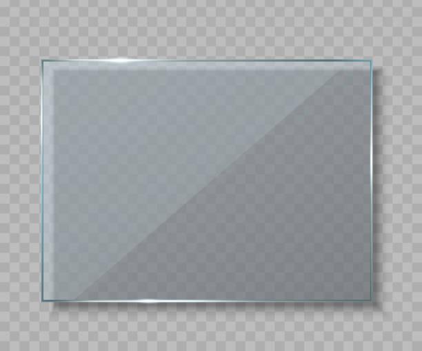 ilustrações, clipart, desenhos animados e ícones de ilustração em vetor criativo de placas de vidro, vazios banners em branco isolados em fundo transparente. arte design realista simulação acima. elemento gráfico do conceito abstrato - texturas de vidro