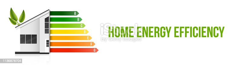 Creative vector illustration of home energy efficiency rating isolated on background. Art design smart eco house improvement template. Abstract concept graphic certification system element.