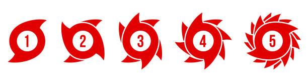 illustrations, cliparts, dessins animés et icônes de illustration vectorielle créative de l'échelle d'ouragan indication icône symbole ensemble isolé sur fond transparent. vortex de conception d'art, typhon, entonnoir de tornade, tempête de vent. élément graphique de concept abstrait - desastre natural