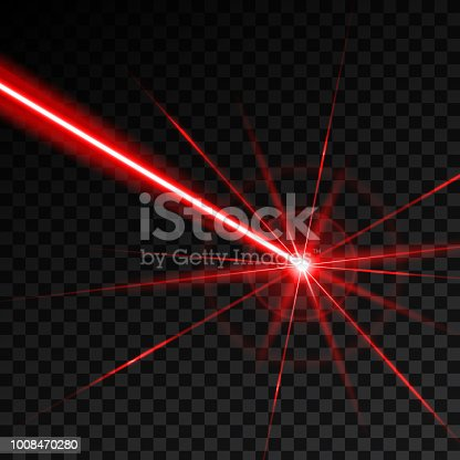 Creative vector illustration of laser security beam isolated on transparent background. Art design shine light ray. Abstract concept graphic element of glow target flash neon line.