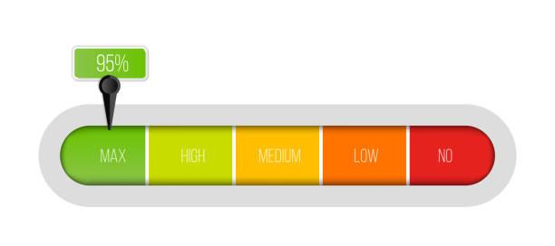 ilustrações, clipart, desenhos animados e ícones de ilustração criativa do vetor do medidor de indicador nivelado com as unidades da porcentagem isoladas no fundo transparente. molde da barra do progresso do projeto da arte. elemento infográfico do slider gráfico abstrato do conceito - deslize