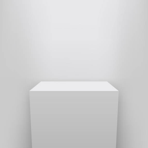 Creative vector illustration of museum pedestal, stage, 3d podium set isolated on transparent background. Art design blank template mockup. Abstract concept graphic element for product presentation Creative vector illustration of museum pedestal, stage, 3d podium set isolated on transparent background. Art design blank template mockup. Abstract concept graphic element for product presentation. showroom stock illustrations