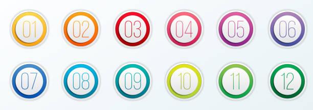 數位專案符號點的創造性向量例證設置1到12在透明背景上隔離。藝術設計。平面色彩坡形 web 圖示範本。抽象概念圖形元素 - 按鈕 幅插畫檔、美工圖案、卡通及圖標