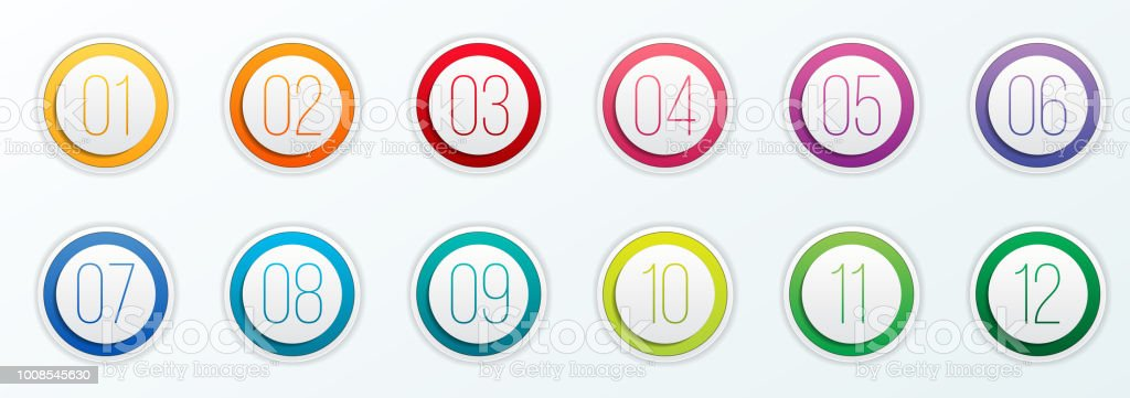 Creative vector illustration of number bullet points set 1 to 12 isolated on transparent background. Art design. Flat color gradient web icons template. Abstract concept graphic element vector art illustration