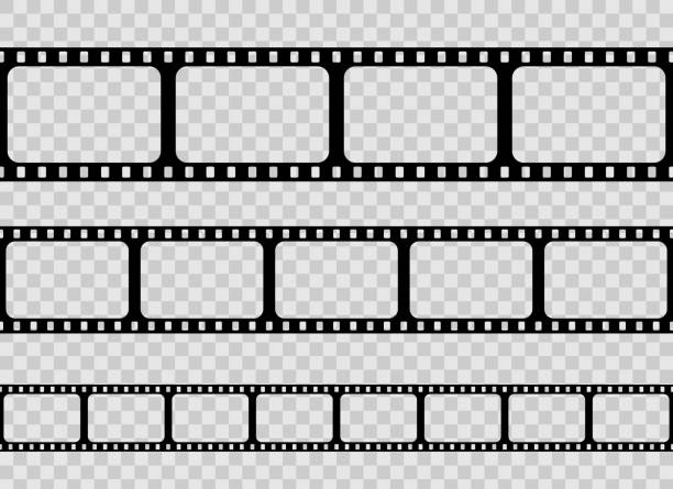 creative vector illustration of old retro film strip frame set isolated on transparent background. art design reel cinema filmstrip template. abstract concept graphic element - zwinięty aranżacja stock illustrations