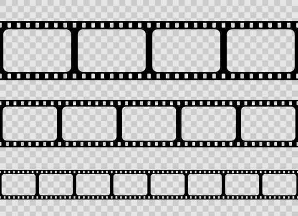 오래 된 레트로 필름 스트립 프레임 세트 투명 한 배경에 고립의 크리에이 티브 벡터 일러스트. 아트 디자인 릴 영화 필름 템플릿입니다. 추상 개념 그래픽 요소 - 말기 stock illustrations
