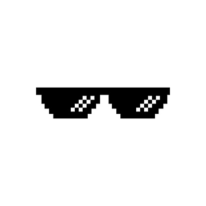 Creative vector illustration of pixel glasses. Thug life meme. Isolated on white background. Ghetto lifestyle culture art design. Mock up template.