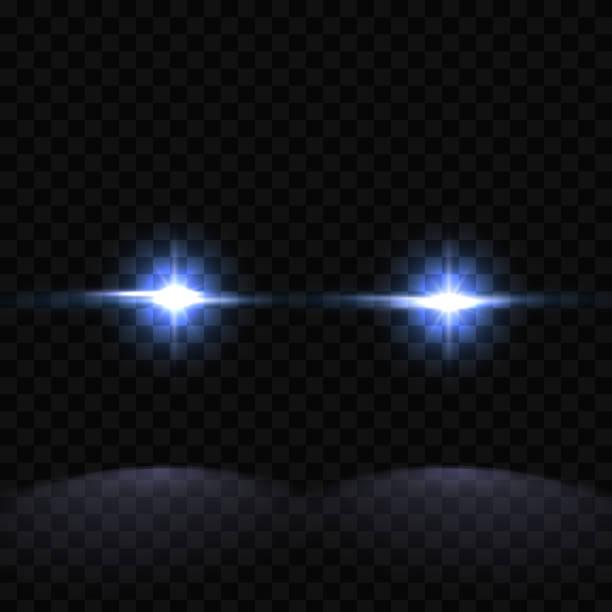 stockillustraties, clipart, cartoons en iconen met creatieve vectorillustratie van politie auto silhouet koplampen, knipperende geïsoleerd op transparante achtergrond. gloeiende hoofdlamp. rood, blauw sirene lichten. kunst design. abstract begrip grafisch element - mist donker auto