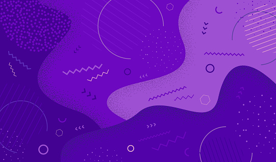 Creative vector illustration of purple  in retro 80s-90s style. Abstract graphic pattern overlay colorful spotty of geometric shape. EPS 10.