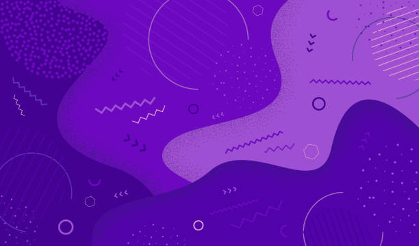 creative vector illustration of purple  in retro 80s-90s style. abstract graphic pattern overlay colorful spotty of geometric shape. eps 10. - kolor tła stock illustrations
