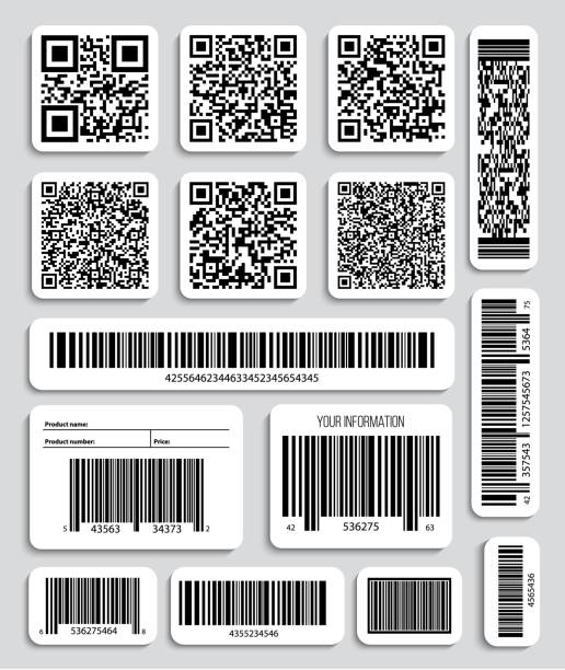 Creative vector illustration of QR codes, packaging labels, bar code on stickers. Identification product scan data in shop. Art design. Abstract concept graphic element vector art illustration