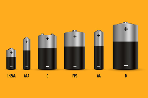 Creative vector illustration of realistic alkaline battery set with diffrent size isolated on transparent background. Art design blank mockup template. Abstract concept graphic element