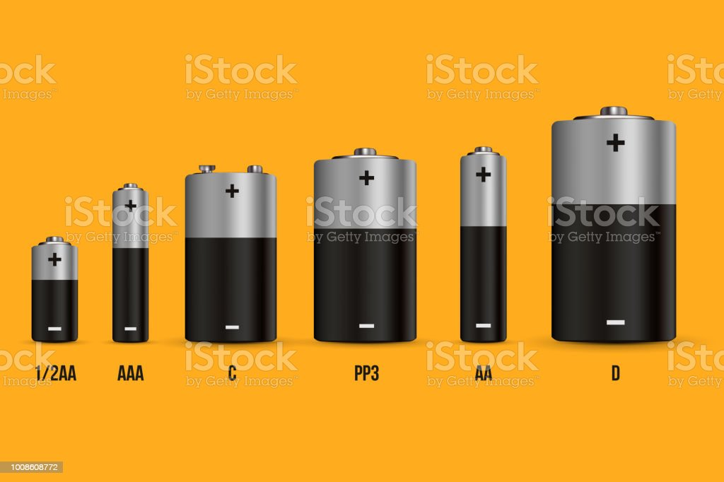 Creative vector illustration of realistic alkaline battery set with diffrent size isolated on transparent background. Art design blank mockup template. Abstract concept graphic element vector art illustration