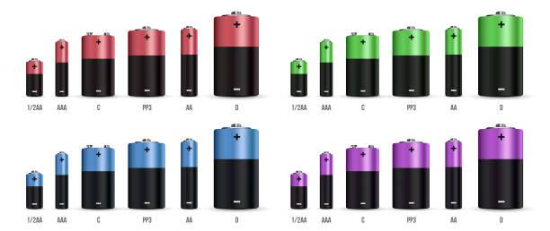 Kreative Vektor-Illustration realistisch alkaline-Batterie mit unterschiedlicher Größe isoliert auf transparenten Hintergrund gesetzt. Kunst Entwurfsvorlage leere Mock-up. Abstrakter Begriff Grafikelement – Vektorgrafik