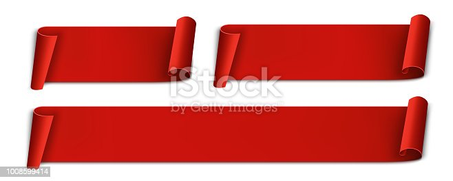 istock Creative vector illustration of realistic curved paper ribbon isolated on transparent background. Art design banner blank template. Abstract concept graphic sale, merry christmas, label, tag element 1008599414