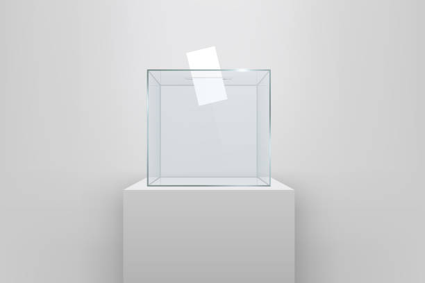 Creative vector illustration of realistic empty transparent ballot box with voting paper in hole isolated on background. Art design glass case is on museum pedestal, stage, 3d podium. Concept graphic vector art illustration