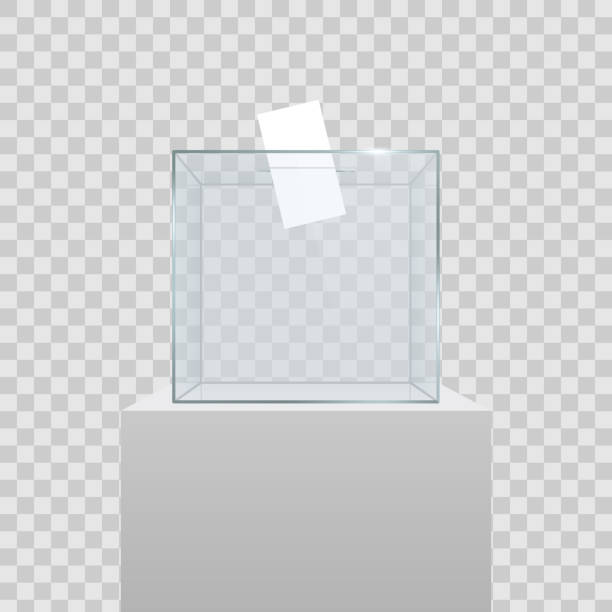 illustrations, cliparts, dessins animés et icônes de illustration de vecteur créatif de réaliste urne transparente vide avec papier en trou isolé sur fond de vote. art design verre affaire est sur le socle de musée, scène et podium 3d. graphique de la notion - museum