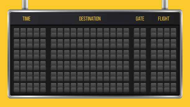 stockillustraties, clipart, cartoons en iconen met creatieve vectorillustratie van realistische flip scorebord, aankomst luchthaven board met alfabet, aantallen geïsoleerd op transparante achtergrond. kunst design. analoge tijdschema lettertype. concept grafisch element - vluchtschema