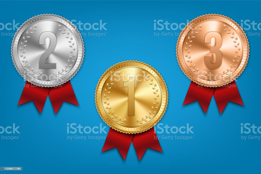 Creative Vector Illustration Of Realistic Gold Silver And Bronze