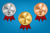 Creative vector illustration of realistic gold, silver and bronze medal set on colorful ribbon isolated on transparent background. Art design placement in sport competition contest. Graphic element.