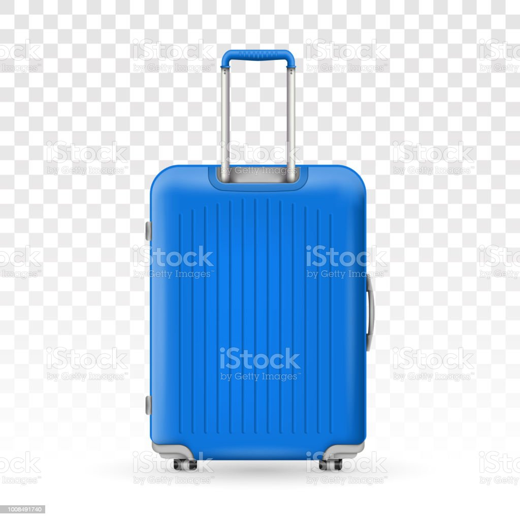 Creative vector illustration of realistic large polycarbonate travel plastic suitcase with wheels isolated on transparent background. Art design traveler luggage. Abstract concept graphic element vector art illustration