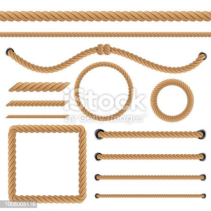 Creative vector illustration of realistic nautical twisted rope knots, loops for decoration and covering isolated on transparent background. Retro vintage art design. Abstract concept graphic element.