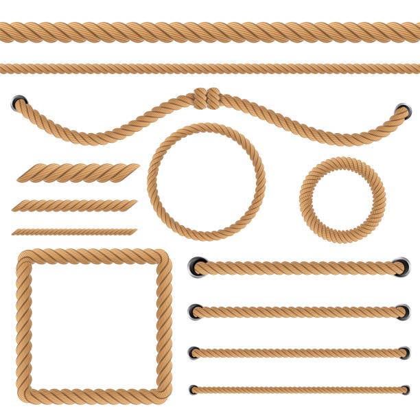stockillustraties, clipart, cartoons en iconen met creatieve vectorillustratie van realistische nautische gedraaide touw knopen, loops voor decoratie en die betrekking hebben op geïsoleerde op transparante achtergrond. retro vintage kunst design. abstract begrip grafisch element - touw