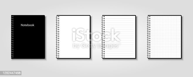 istock Creative vector illustration of realistic notebooks lined and dots paper page isolated on transparent background 1252447458