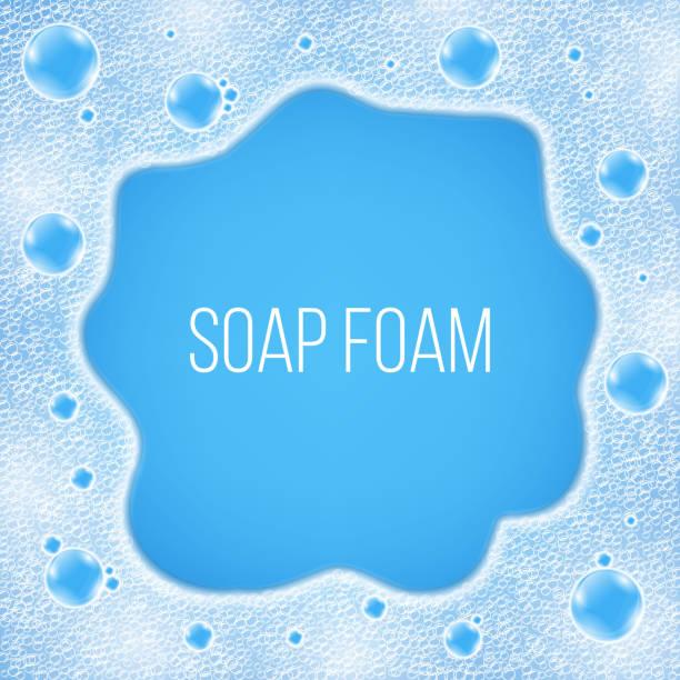 現実的な水空気泡の背景に分離の創造的なベクトル イラスト。アート デザイン シャンプーの泡の背景。本文コピー場所を持つ抽象的な概念グラフィック要素 - 楽しい 洗濯点のイラスト素材/クリップアート素材/マンガ素材/アイコン素材