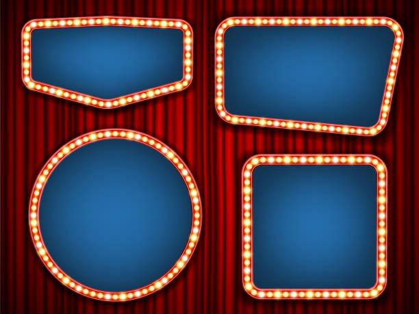 bildbanksillustrationer, clip art samt tecknat material och ikoner med kreativa vektorillustration av retro lampa ram ligger isolerad på transparent bakgrund. konst design skinande banner dekoration gardiner. abstrakt begrepp grafisk teater billboard element - celebrities of age