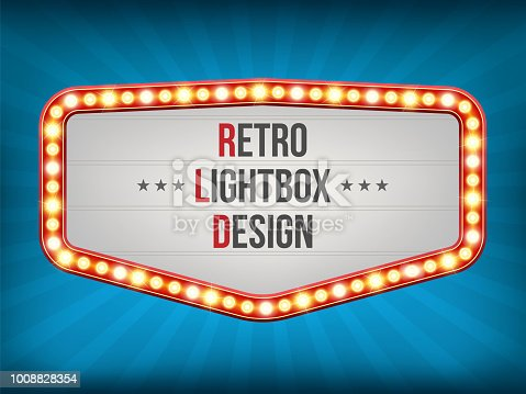 Creative vector illustration of retro light bulb frame set isolated on transparent background. Art design shiny banner decoration curtains. Abstract concept graphic theatre billboard element.