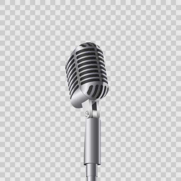 creative vector illustration of retro vintage concert microphones on stand isolated on transparent background. art design. abstract concept graphic music element - record analog audio stock illustrations