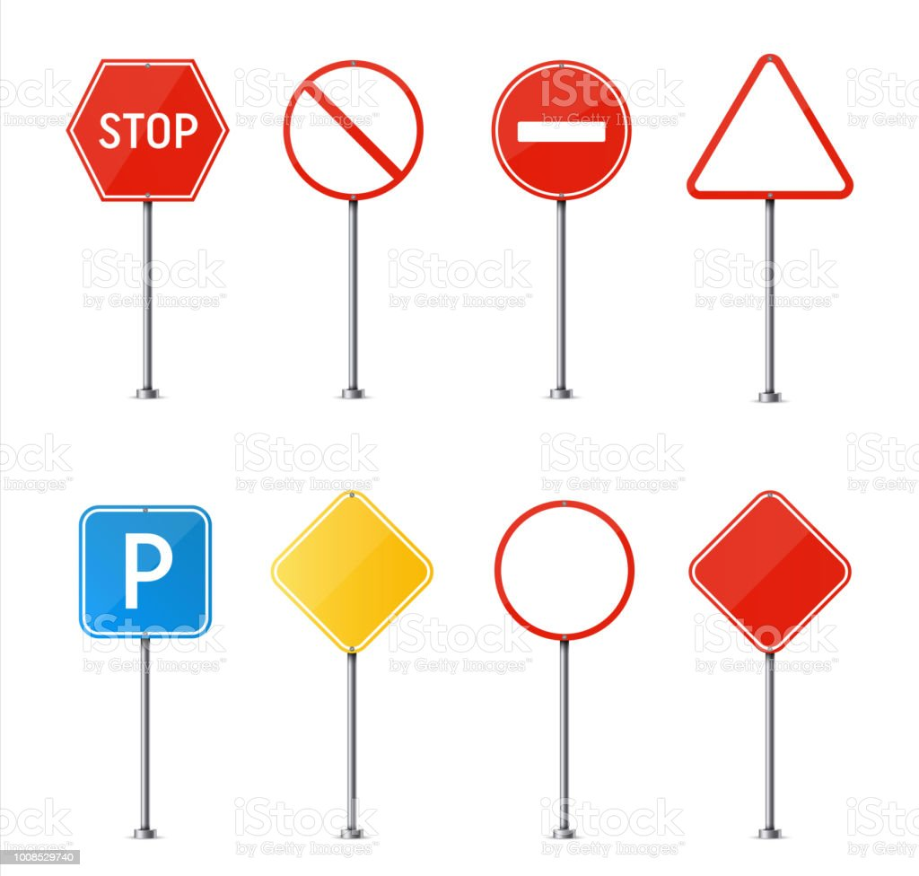 Creative Vector Illustration Of Road Sign Isolated On Background Art ...
