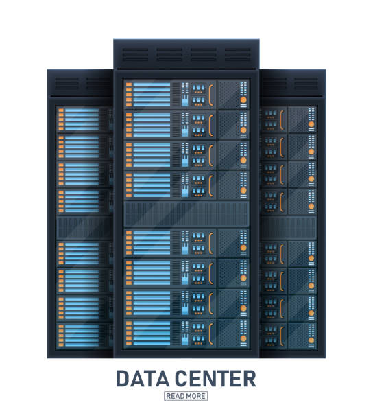 creative vector illustration of server rack room, big data bank center isolated on transparent background. art design web hosting technology. abstract concept graphic computer service element - computer server room stock illustrations