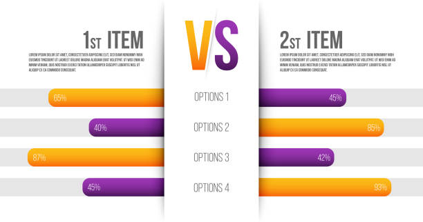 creative vector illustration of service comparison table isolated on transparent background. art design. product info with description indicators. abstract concept graphic bars infographic element - evaluation stock illustrations