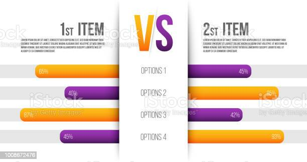 Creative Vector Illustration Of Service Comparison Table Isolated On Transparent Background Art Design Product Info With Description Indicators Abstract Concept Graphic Bars Infographic Element — стоковая векторная графика и другие изображения на тему Баннер - знак