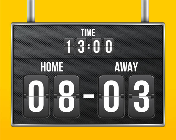 ilustrações de stock, clip art, desenhos animados e ícones de creative vector illustration of soccer, football mechanical scoreboard isolated on transparent background. art design retro vintage countdown with time, result display. concept graphic sport element - led painel