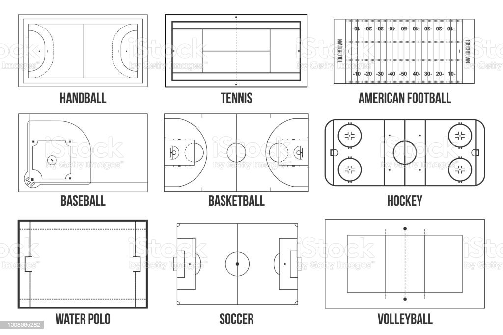 creative vector illustration of sport game fields marking isolated on  background  graphic element for handball, tennis, american football,  soccer, baseball,