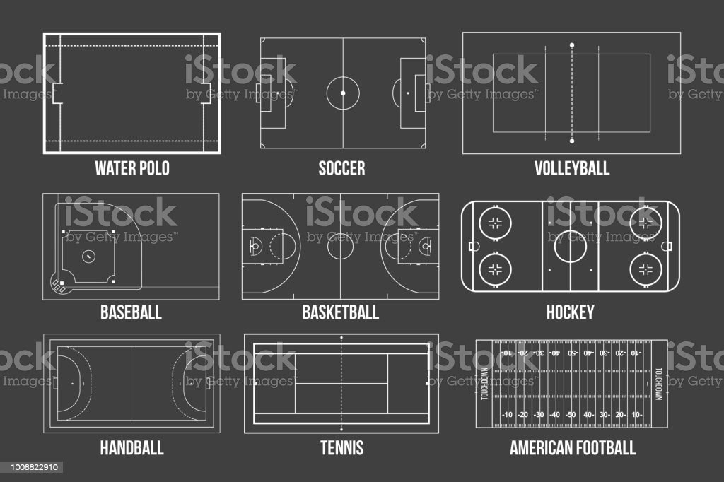 Creative vector illustration of sport game fields marking isolated on background. Graphic element for handball, tennis, american football, soccer, baseball, basketball, hockey, water polo, volleyball vector art illustration