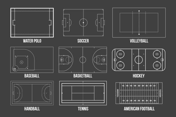 illustrations, cliparts, dessins animés et icônes de illustration créative vecteur de terrains de jeu de sport marquage isolée sur fond. élément graphique pour handball, tennis, football américain, soccer, baseball, basketball, hockey, water-polo, volley-ball - football