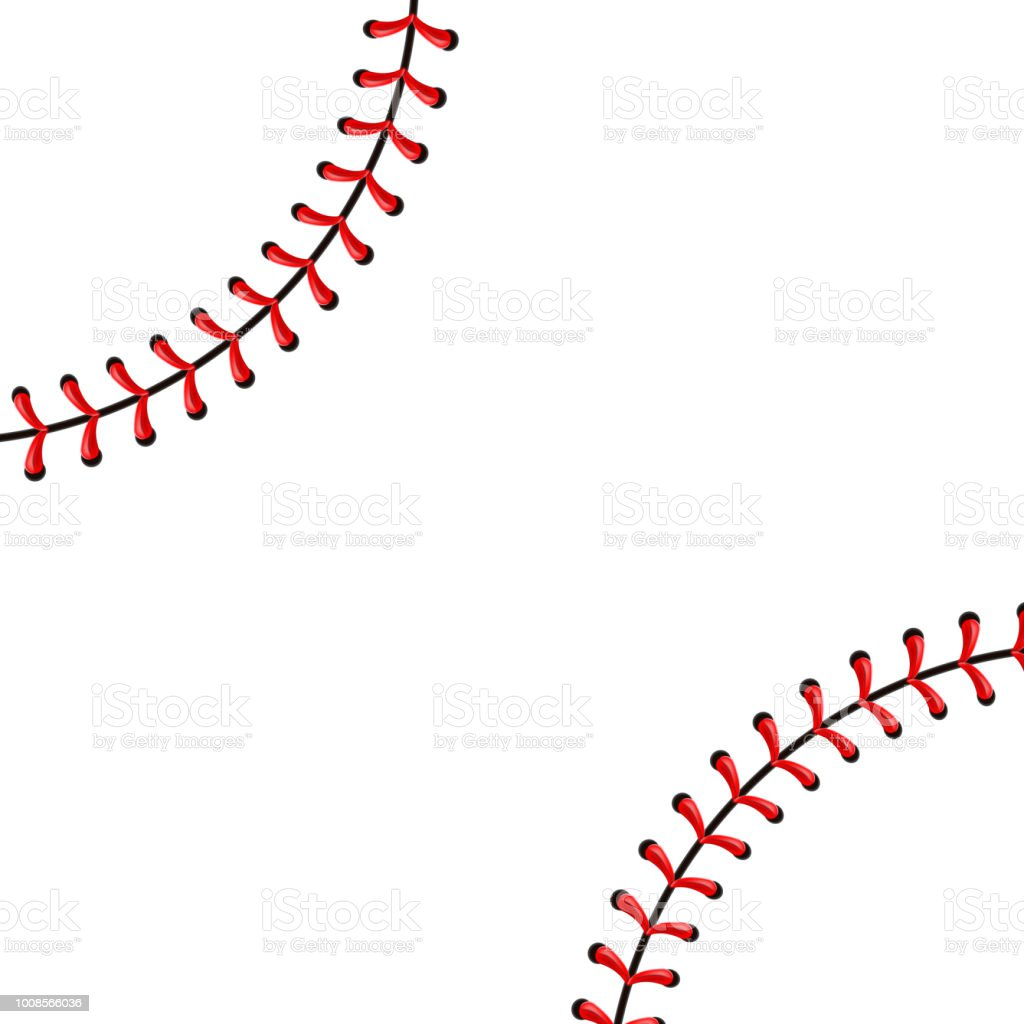 Creative vector illustration of sports baseball ball stitches, red lace seam isolated on transparent background. Art design thread decoration. Abstract concept graphic element vector art illustration