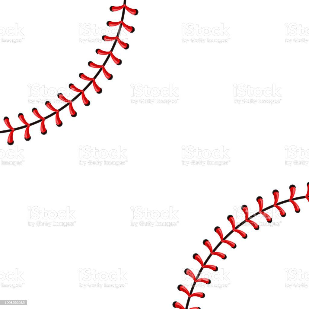 Kreative Vektor-Illustration von Sport Baseball Ball Stiche, rote Spitze Naht auf transparenten Hintergrund isoliert. Kunst Design Thread Dekoration. Abstrakter Begriff Grafikelement – Vektorgrafik