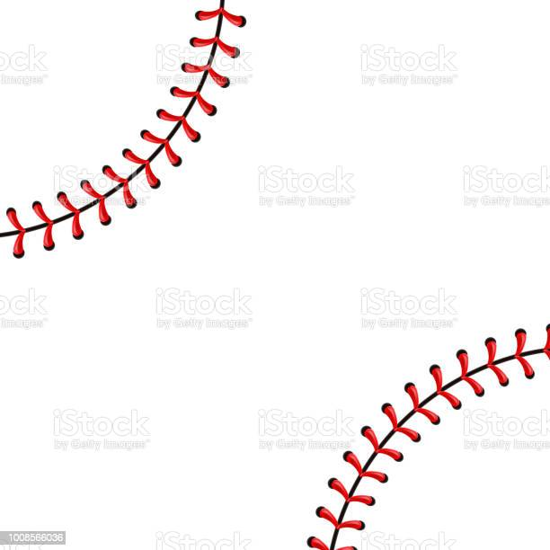 Creative vector illustration of sports baseball ball stitches, red lace seam isolated on transparent background. Art design thread decoration. Abstract concept graphic element.