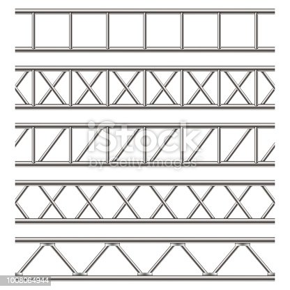 Creative vector illustration of steel truss girder, chrome pipes isolated on transparent background. Art design horizontal metal construction structure for billboard. Abstract concept graphic element.