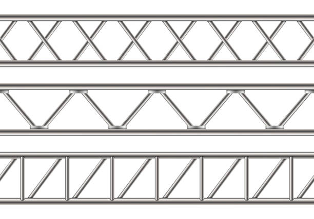Creative vector illustration of steel truss girder, chrome pipes isolated on transparent background. Art design horizontal metal construction structure for billboard. Abstract concept graphic element Creative vector illustration of steel truss girder, chrome pipes isolated on transparent background. Art design horizontal metal construction structure for billboard. Abstract concept graphic element. girder stock illustrations