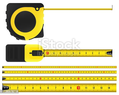 Creative vector illustration of tape measure, measuring tool, ruler, meter isolated on transparent background. Art design roulette template. Abstract concept graphic element.