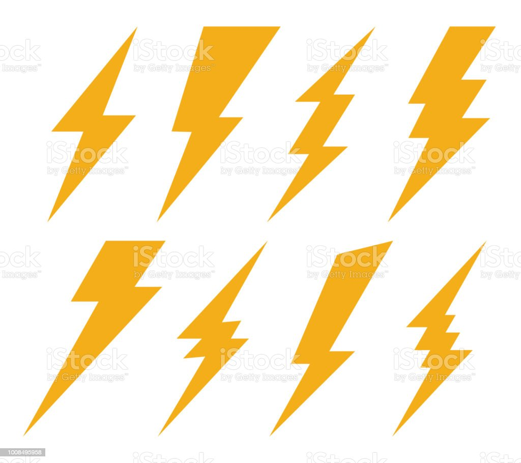 Creative vector illustration of thunder and bolt lighting flash icon set isolated on transparent background. Art design electric thunderbolt. Abstract concept graphic dangerous symbol icon element