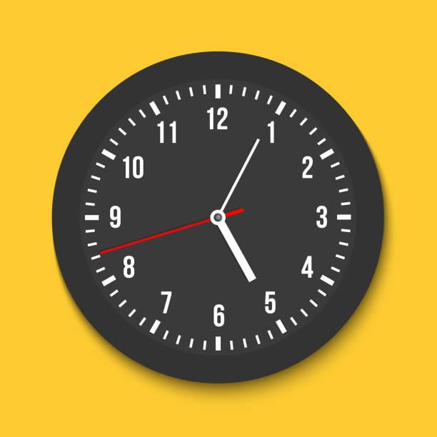 ilustraciones, imágenes clip art, dibujos animados e iconos de stock de ilustración de vector creativo de vista superior simple pared clásico reloj de oficina aislado sobre fondo transparente. arte diseño tiempo plantilla closeup maqueta. elemento hacia la derecha, gráfico del concepto abstracto - wall clock