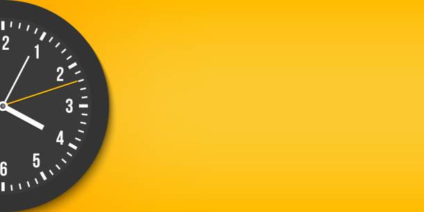 kreatywna ilustracja wektorowa widoku z góry prosty klasyczny zegar biurowy izolowany na przezroczystym tle. wizualizacja zbliżenia szablonu czasu projektowania sztuki. abstrakcyjna koncepcja graficzna zgodnie z ruchem wskazówek zegara, element - czas stock illustrations